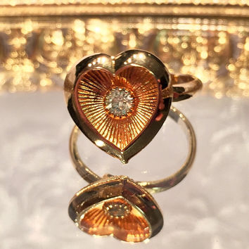 Vintage Sarah Coventry Gold Heart Ring with Faux Diamond Accent Adjustable Size 6 Signed Sarah Coventry