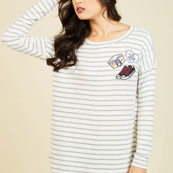 Game, Set, Patch Striped Sweater | Mod Retro Vintage Short Sleeve Shirts | ModCloth.com