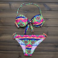 Women's Push up Halter Aztec Tribal Ethnic Bikini Swimsuits