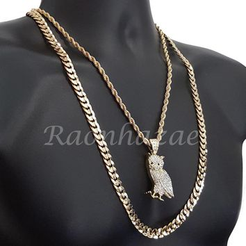 "MENS ICED OUT OWL CHARM ROPE CHAIN DIAMOND CUT 30"" CUBAN CHAIN NECKLACE SET G50"