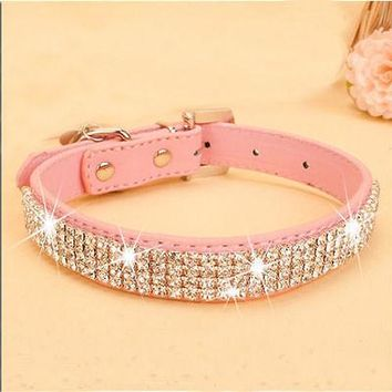 BLING PU Leather Dog Collar
