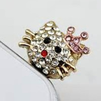 Golden Crystal Hello Kitty earphone hanging charm anti dust plug for most of cell phone  with 3.5 jack plug.