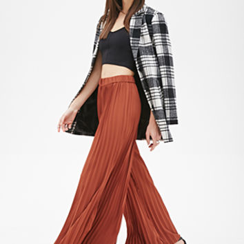 FOREVER 21 Accordion-Pleated Palazzo Pants Rust