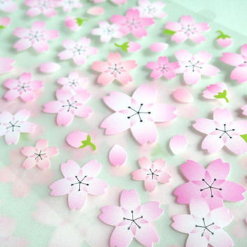 Cherry Blossom flower sticker Sakura sticker Japanese flower national flower Asian flower fancy flower icon decoration label flower gift