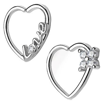 BodyJ4You 2PCS 16G (1.2mm) Daith Earring Piercing Heart Clear CZ Silvertone Helix Cartilage Hoop Set