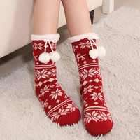 Winter Snowflake Warm Women Socks in Red, Blue & Black,Slip-Free,Christmas Gift,Lace Socks,Heel Socks,Leggings,Leg Warmers,Vegan Knitting