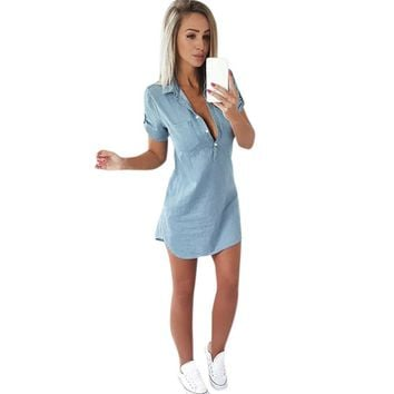 Women Denim Dress Summer Short Sleeve Buttons Front Solid Shift Dresses Pocket Shirt Dress Vestiti Donna #VE