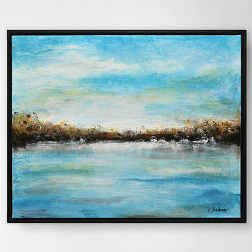 Original landscape abstract painting modern impressionistic painting blue oil abstract landscape art by L.Beiboer