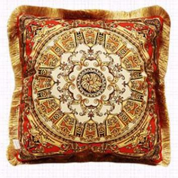 """Tangerine Gold Flower Pillow Embellished With Trim 20""""X20"""""""