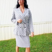 Vintage Womens Suit 80's Gray Black Polka Dot Suit Skirt Double Breast Blouse Pencil Split Skirt Avon Newport News Office Work Sz 10 Casual
