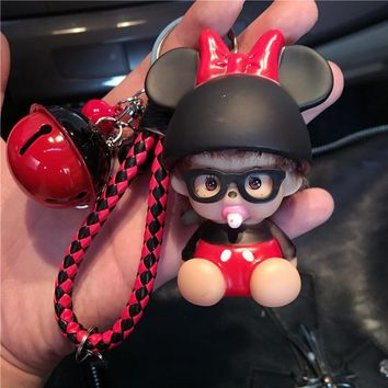 Cute Mickey Minnie Mouse Bell Decoration Monchichi Keychain keyring Women