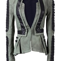 Lookbook Store® Women's Army Green Denim PU Leather Zip Sleeves Pleated Tuxedo Blazer Jacket US 4