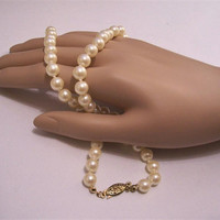 "Avon 18"" or 19"" White Pearl Necklace Gold Tone Vintage 6mm Round Bead Single Strand Slide In Decorative Slide In Clasp"