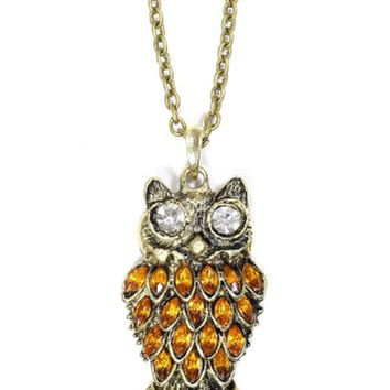 Amber Crystal Owl Necklace Vintage Retro NF12 Gold Charm Antique Pendant Fashion Jewelry