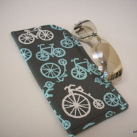 Eyeglass or Sunglass Case Choose your Size Bicycle Velocipede Blue and White on Gray  Protective Padded Pouch