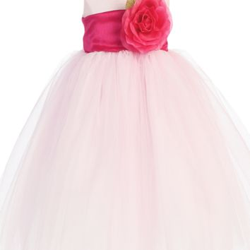 Pink Polysilk Flower Girl Dress w. Ballerina Tulle Skirt & Custom Sash 6M-12Y
