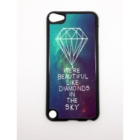 Apple iPhone 5 5G 5S We're Beautiful Like Diamonds In the Sky Nebula Stars Hipster BLACK Sides Slim HARD Case Skin Cover Protector Accessory Vintage Retro Unique