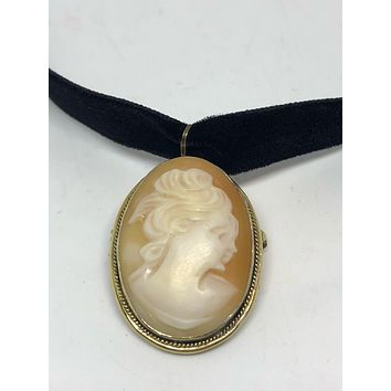 Vintage Genuine shell Cameo Gold Vermeil Sterling Silver pin Necklace