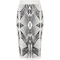 River Island Womens White wet look graphic print pencil skirt
