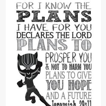 Black Panther Christian Superhero Nursery Decor Art Print - For I Know The Plans I Have For You - Jeremiah 29:11