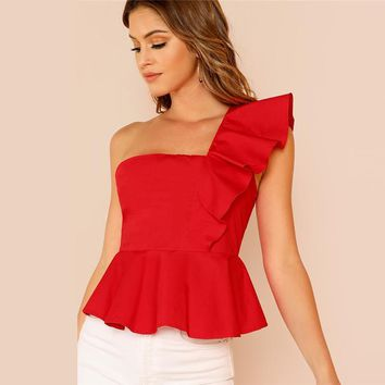 Ruffle Trim One Shoulder Peplum Top Female Blouse Women Shirts Slim Elegant Womens Tops Blouses