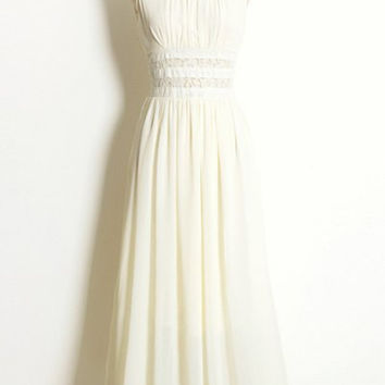 White Sleeveless Lace Panel Chiffon Maxi Dress