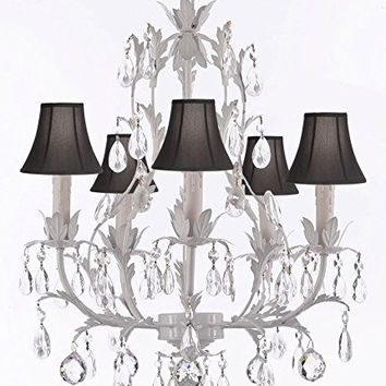 White Wrought Iron Floral Chandelier Lighting W/ Crystal Balls And Shades! - G7-Sc/Blackshade/B6/White/407/5