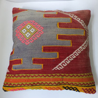 "Modern Bohemian Home Decor,Turkish Kilim Pillow 16"" x 16"""