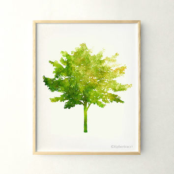 Green tree art, Nature wall art poster, 11x14 art print, Living room decor, Tree decor, Nature art Printable wall art decor, Green art print