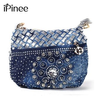 iPinee Famous designer bags 2017  fashion jean coin purse small bag  ladies vintage evening wallets women messenger bag