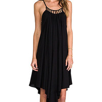 Black Sleeveless Chiffon Midi Dress