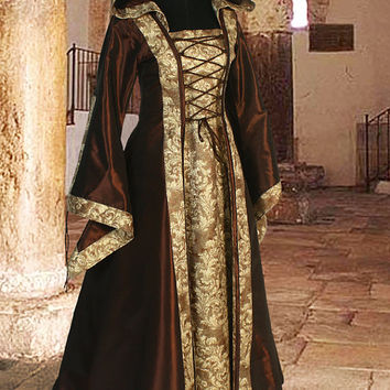 Medieval Dress Gown Renaissance Costume Clothing with hood Sorceress Gown witch Medieval Fantasy Costume No.120