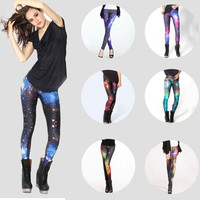 High Waist Skinny Flower Print Starry Sky Fashion Leggings