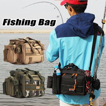 Large Fishing Bag Water Resistant Backpack Box Waist Shoulder Strap Gear Storage