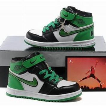 New Air Jordan 1 Retro Kids Shoes Black Green White