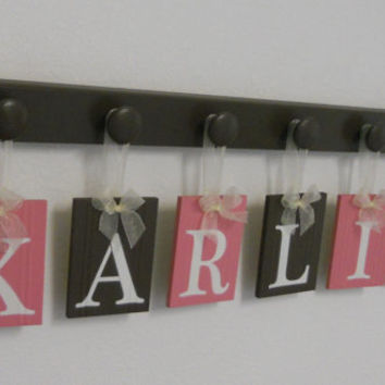 Baby Girl Nursery Wall Decorations Letter Sign, Wooden Baby Name Personalized Hanging Letters 6 Wood Hangers Pink and Brown - KARLIE