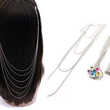Fashion Jewelry ~ Multi Color Crystal Flower Layers Hair Pin Clip Head Chain (Style MMH70902RDMLT)