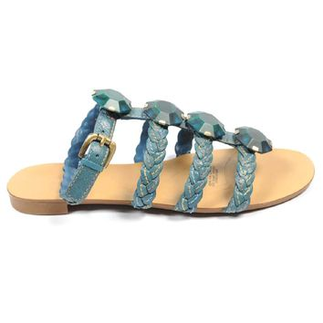 Blue 5.5 US - 36 EUR Nine West Womens Ankle Strap Flat Sandal NWRADIOWAVE MEDIUM BLU
