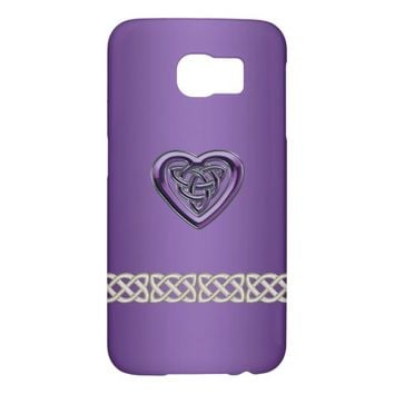 Purple Celtic Heart Knot and Chain Galaxy S6 Case Samsung Galaxy S6 Cases