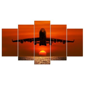 Jet Airplane at Sunset  Wall Art Canvas Poster Panel Picture For Living Room