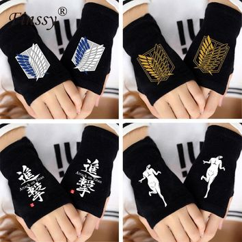 Cool Attack on Titan  Gloves no  Costume Costume for Women Men Fingerless Knitting Wrist Gloves Mitten Lovers AT_90_11
