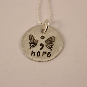 Hope - Hand Stamped Semi Colon Butterfly Necklace - Sterling Silver