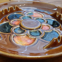 Vintage MCP McCoy Pottery 1960s Brown Orange Blue Flower Ash Tray Great Decor Perfect for Jewelry