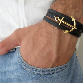 Men's Bracelet -  Black Fabric Bracelet With Gold Plated Anchor - Men's Jewelry - Nautical Jewelry - Anchor Jewelry