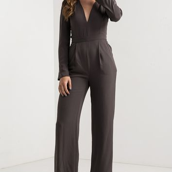 V Neck Zip Up Seam Detail Wide Leg Jumpsuit in Grey, Off White