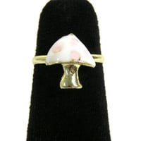 Magic Mushroom Ring Adjustable Gold Tone 1UP Power Up RD46 Psychedelic Shroom Fashion Jewelry