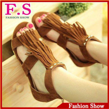 Hippy style tassel sandals for women UP zip roma summer shoes for women peep toe sandals