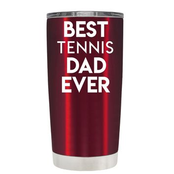 TREK Best Tennis Dad Ever on Translucent Red 20 oz Tumbler Cup