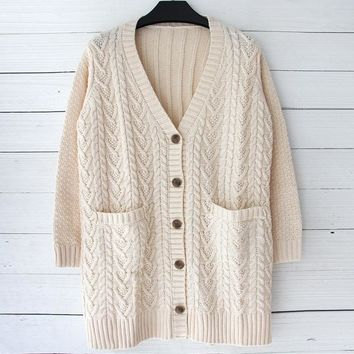 Plus Size Women's Fashion Winter Knit Sweater Jacket [45261258777]