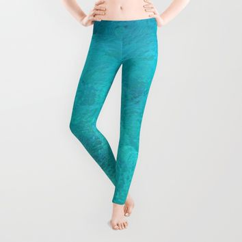 Clear Turquoise Water Leggings by Lena Photo Art
